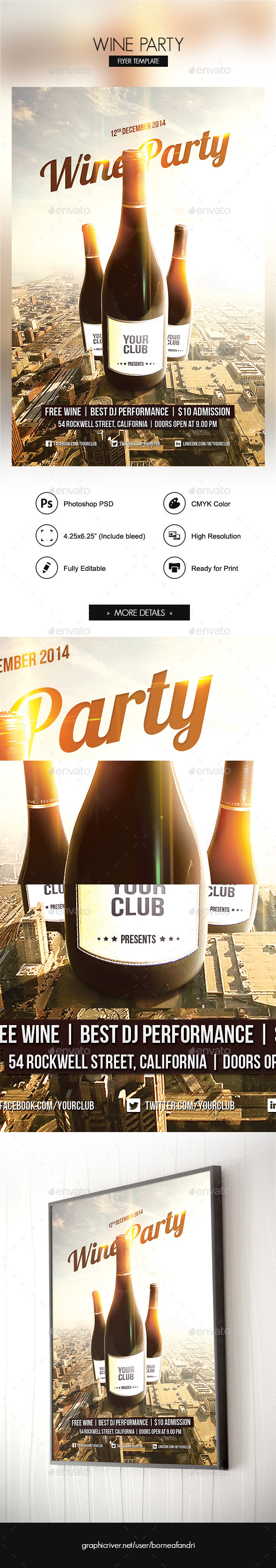 Wine Party Flyer - Clubs & Parties Events