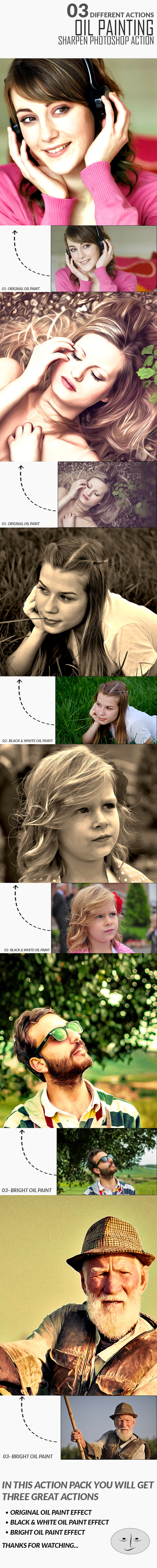 03 Different Oil Paingting Photoshop Actions - Photo Effects Actions
