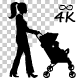Woman Pushing Baby Cart