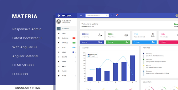 Materia responsive admin template by solutionportal for Admin template free download in php