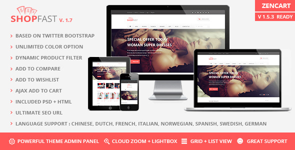 Shopfast - Responsive Zencart Template by PerfectusInc | ThemeForest