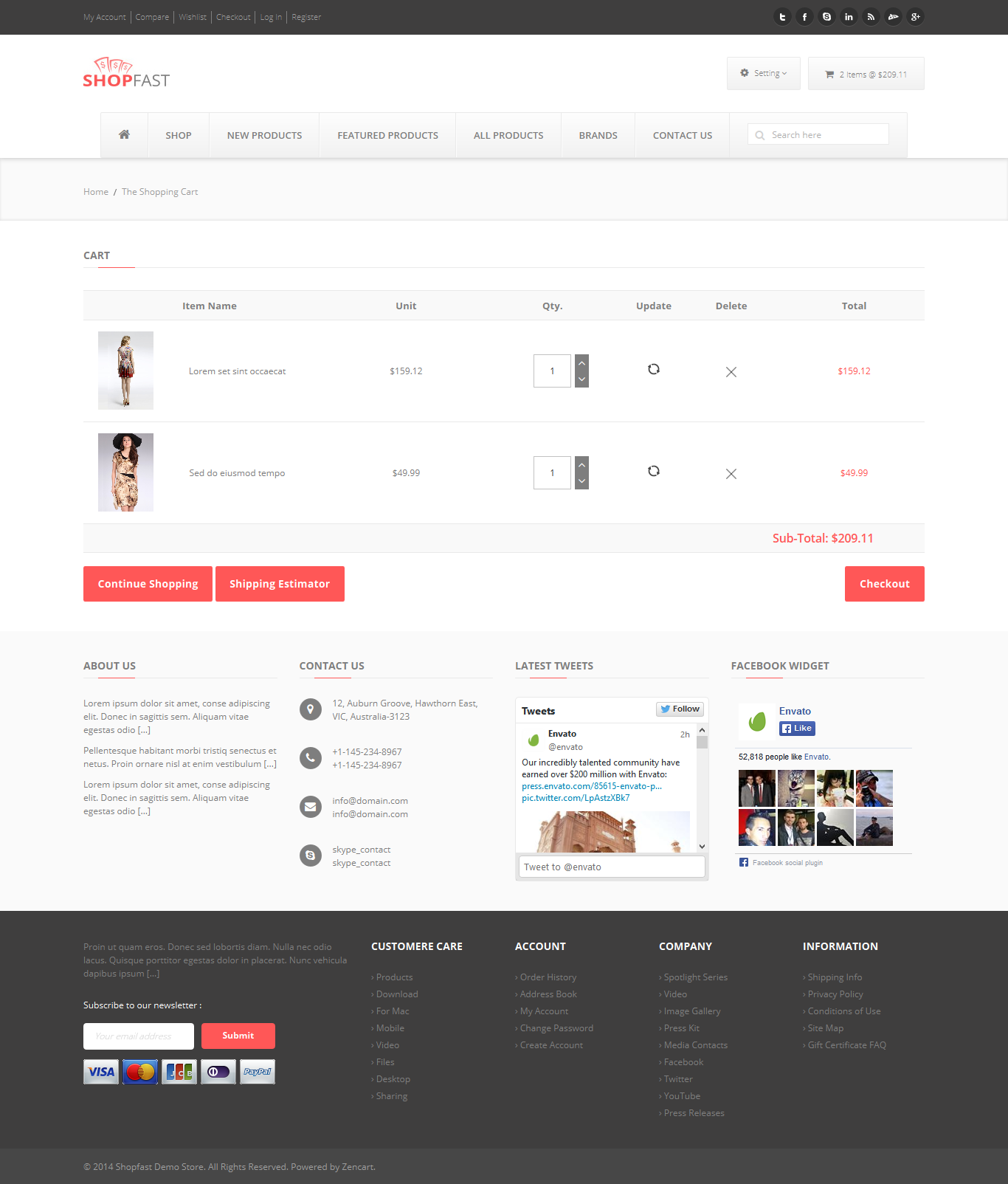 Shopfast Responsive Zencart Template By PerfectusInc ThemeForest - Responsive shopping cart template