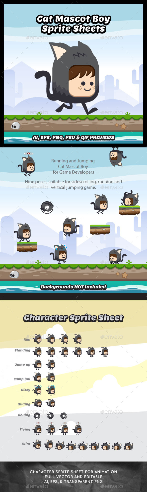 Cat Mascot Boy Game Character Sprite Sheets - Sprites Game Assets