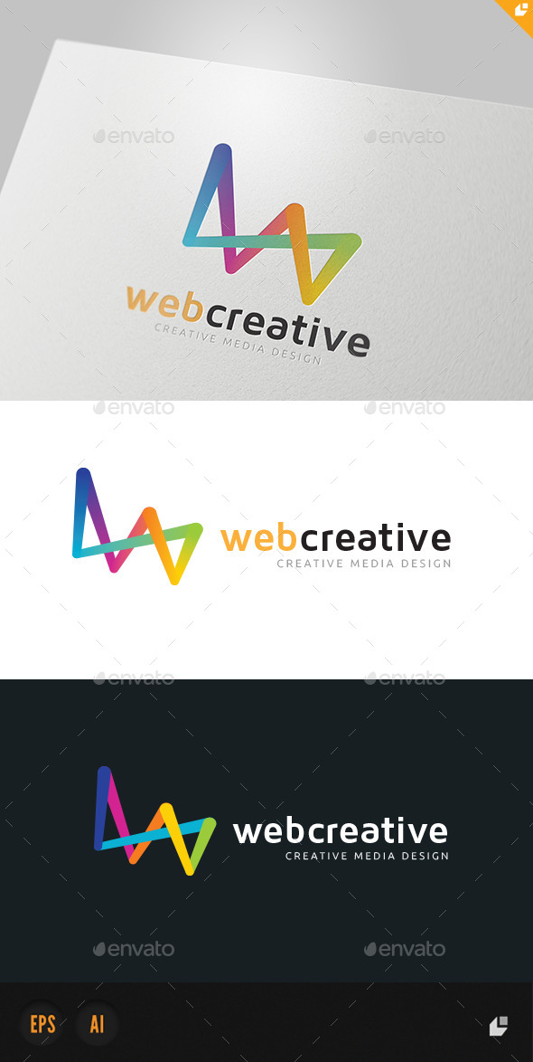 Web Creative Media Design Logo - 3d Abstract