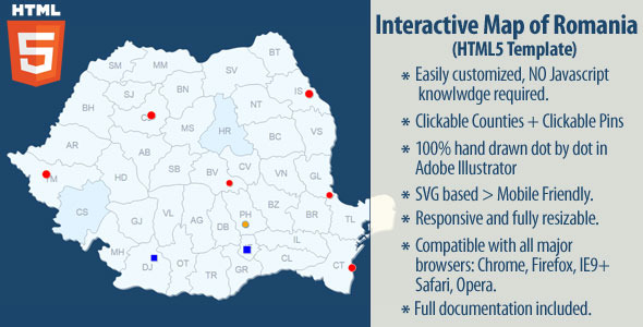 Interactive Map of Romania by Art101 CodeCanyon