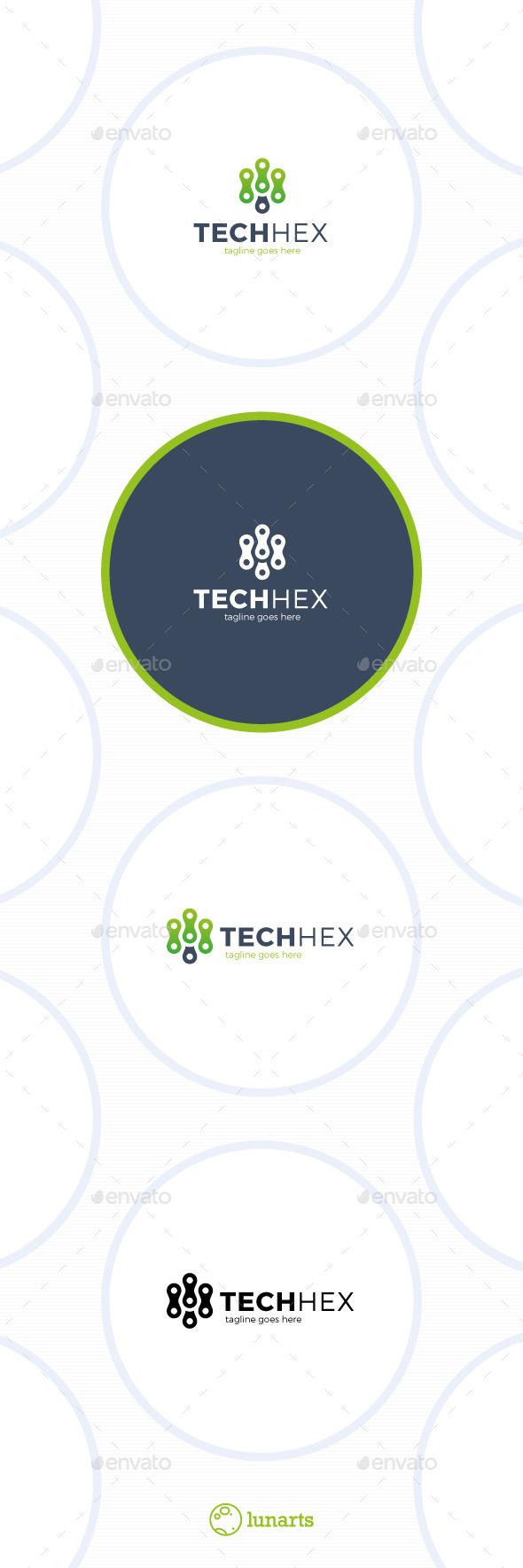 Tech Hex Logo - Letter M - Letters Logo Templates
