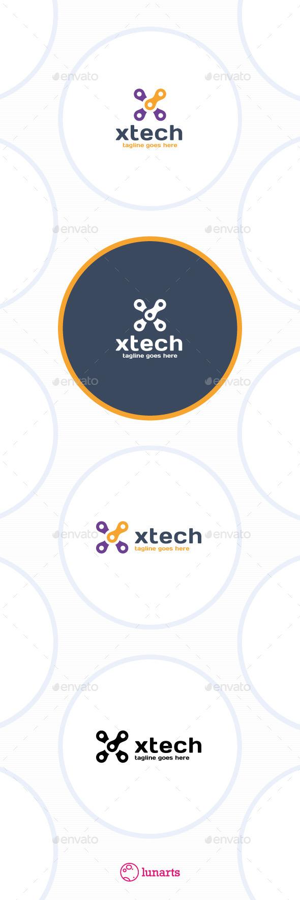 Tech Letter X Logo - Letters Logo Templates