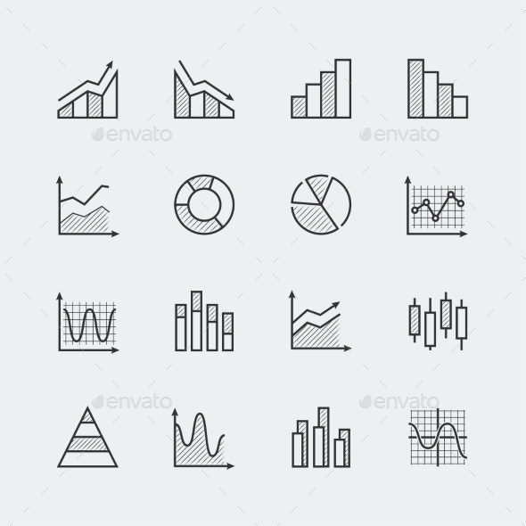 Vector Set Of Diagram And Graphs Related Icons - Icons