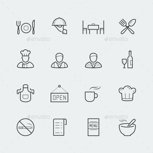 Vector Restaurant Icons In Outline Style - Icons