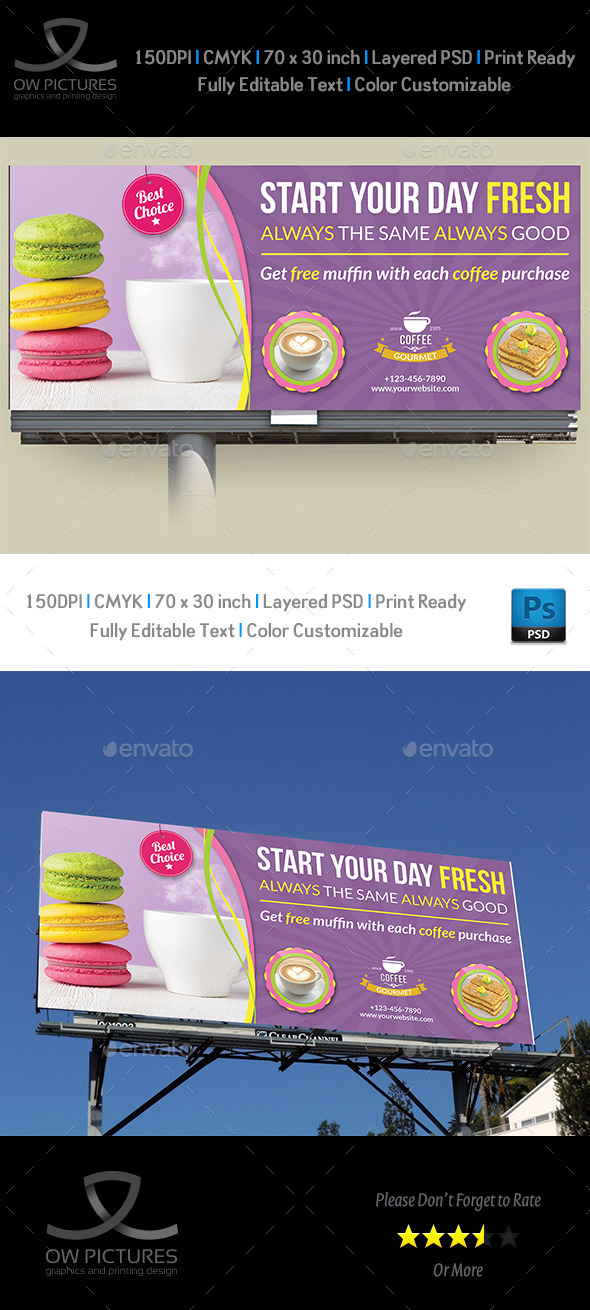 Cafe and Restaurant Billboard Template Vol.2 - Signage Print Templates