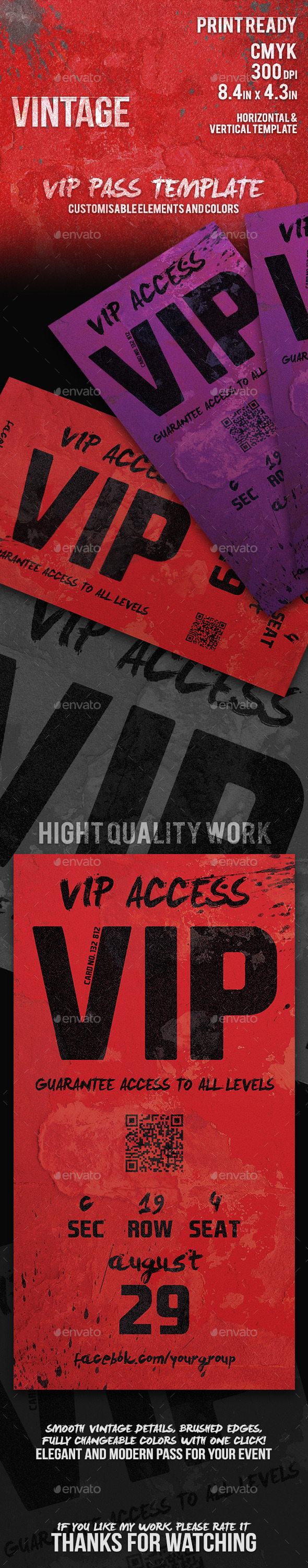 Vintage - Elegant Vip Pass Template - Cards & Invites Print Templates