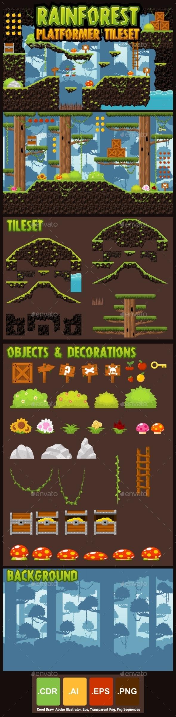 Rainforest Platformer Tileset - Tilesets Game Assets