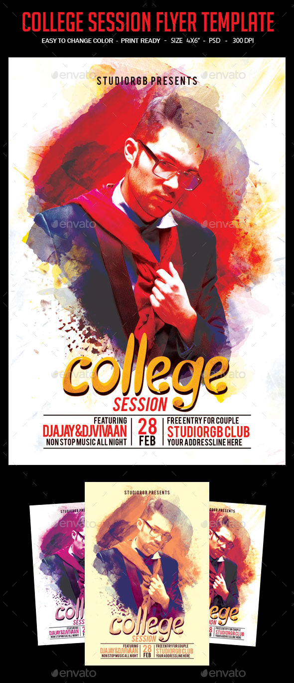 College Session Flyer Template - Clubs & Parties Events