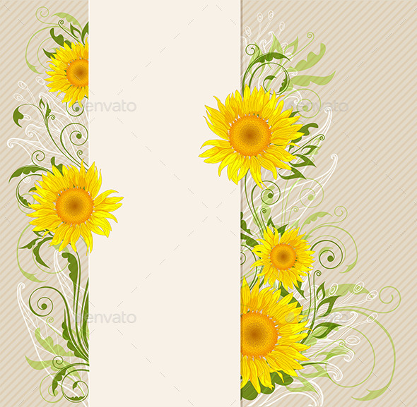 Banner with Yellow Sunflowers - Flowers & Plants Nature