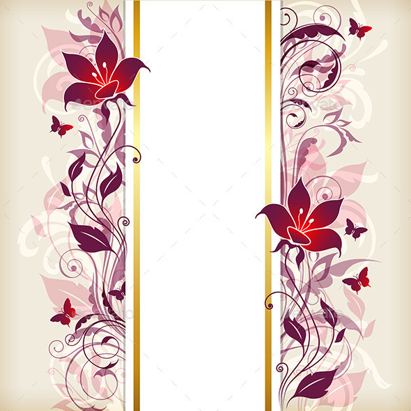 Vertical Banner with Violet and Pink Flowers - Backgrounds Decorative