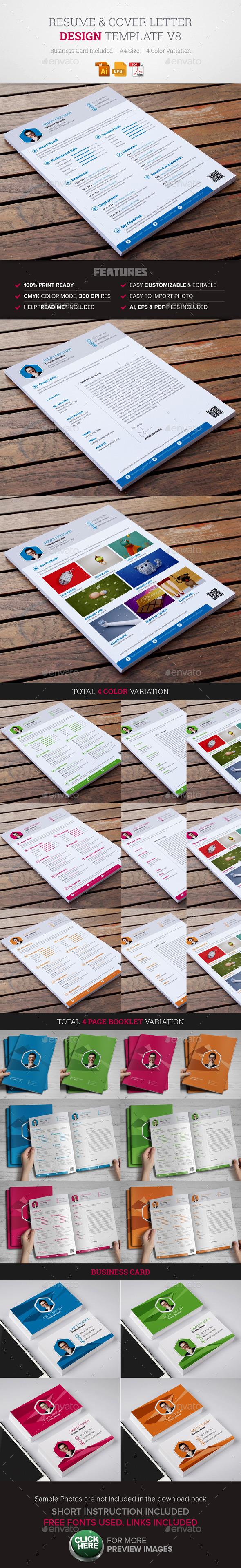 Resume & Cover Letter Template v8 - Resumes Stationery