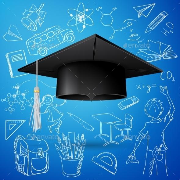 Graduation Cap and Hand Draw School Icons - Decorative Symbols Decorative
