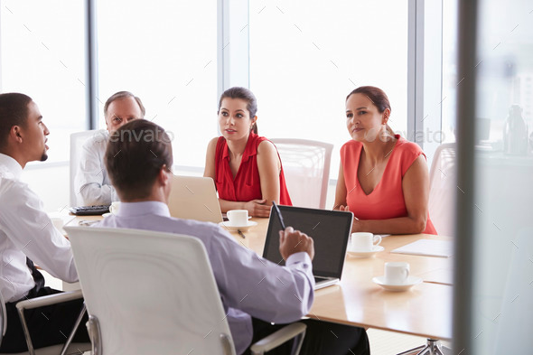 Five Businesspeople Having Meeting In Boardroom - Stock Photo - Images