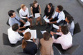 Overhead View Of Businesspeople Seated In Circle At Company Seminar - PhotoDune Item for Sale
