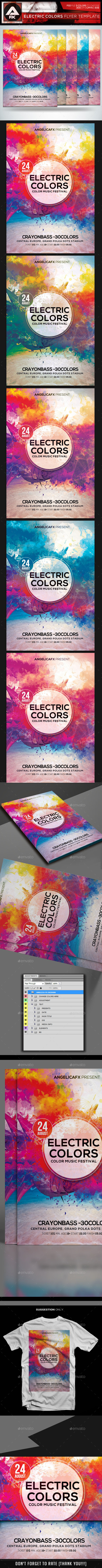 Electric Colors Flyer Template - Flyers Print Templates