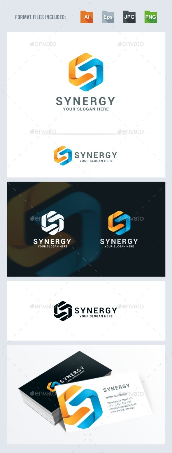 Synergy - Letter S Logo Template - Vector Abstract