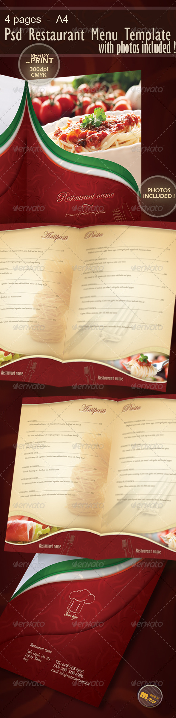 Restaurant Menu template with photos incuded - Food Menus Print Templates