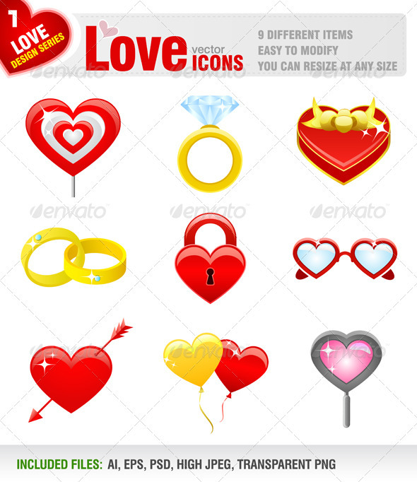 9 Love Icons - Valentines Seasons/Holidays