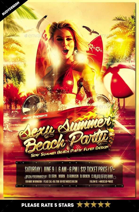 Sexy Summer Beach Party Flyer - Clubs & Parties Events