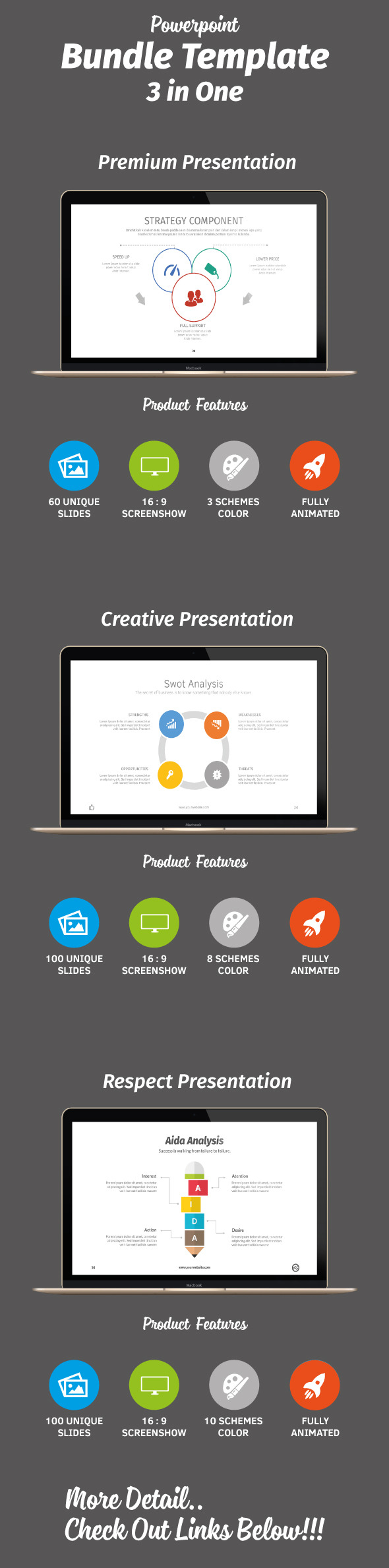Powerpoint Bundle 3 in One - Abstract PowerPoint Templates