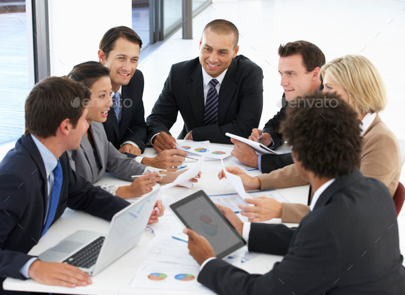 Group Of Business People Having Meeting In Office - Stock Photo - Images