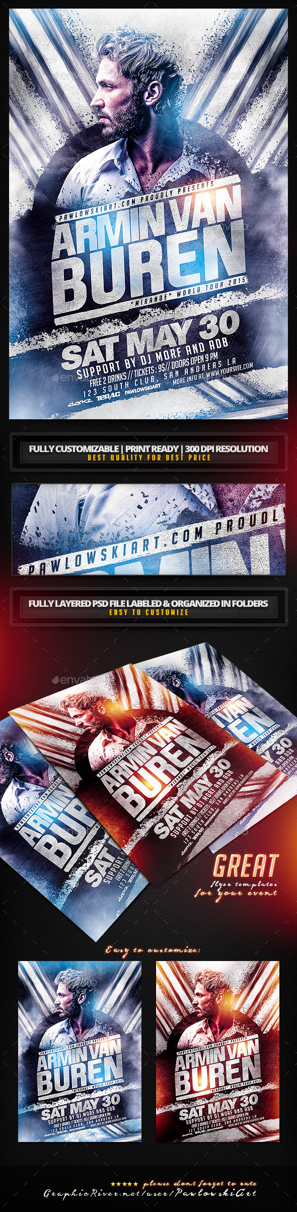DJ Electro v6 Flyer Templates - Clubs & Parties Events