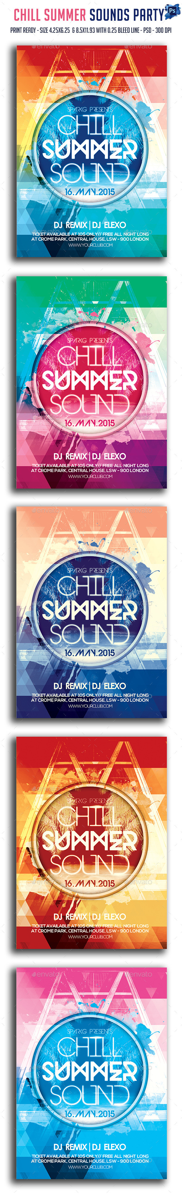 Chill Summer Sounds Party Flyer - Clubs & Parties Events