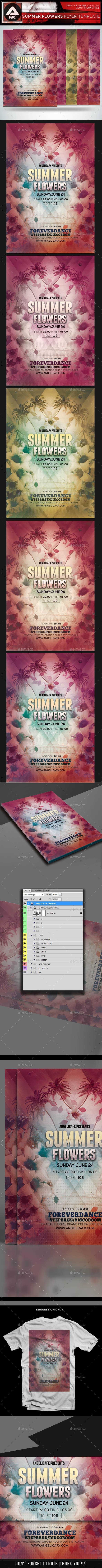 Summer Flower Flyer Template - Flyers Print Templates