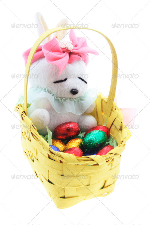 Soft Toy Easter Bunny with Basket of Easter Eggs - Stock Photo - Images