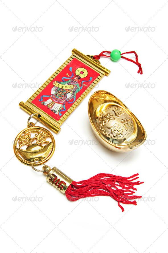 Chinese Trinket and Gold Ingot - Stock Photo - Images