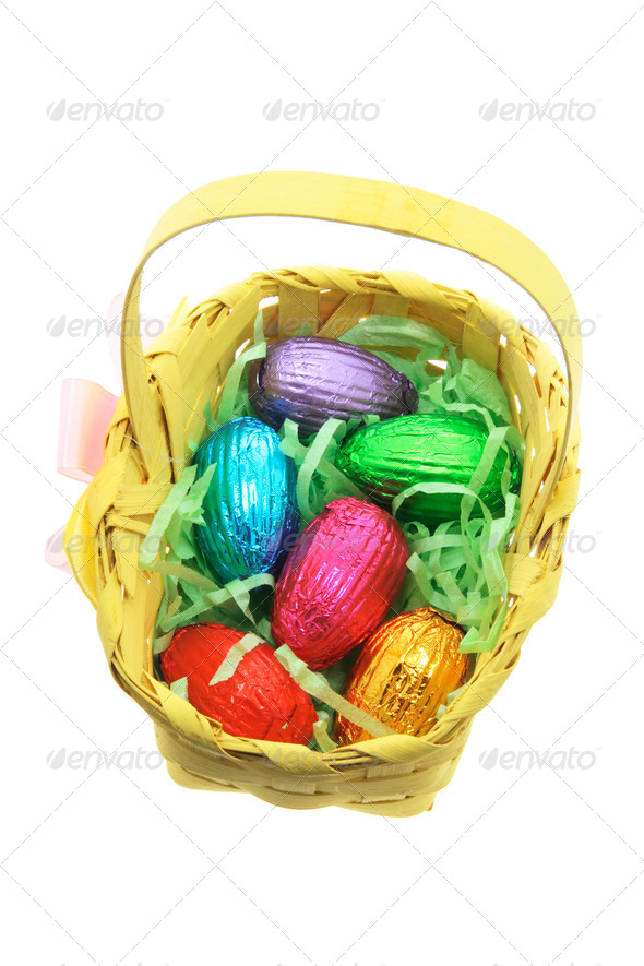 Easter Egg in Bamboo Basket - Stock Photo - Images