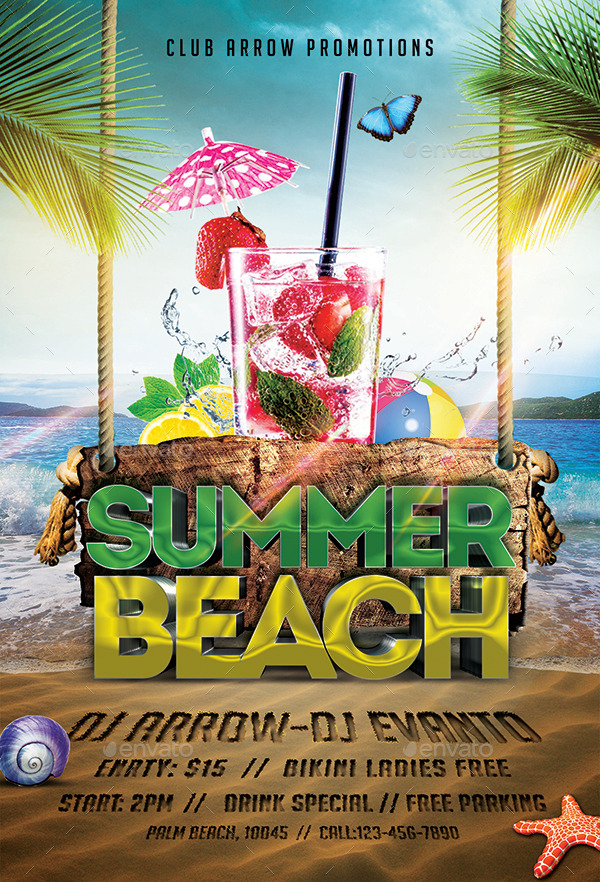 Summer Beach Party Flyer Template By Arrow  Graphicriver
