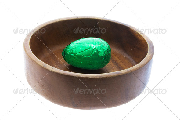 Easter Egg in Wooden Bowl - Stock Photo - Images