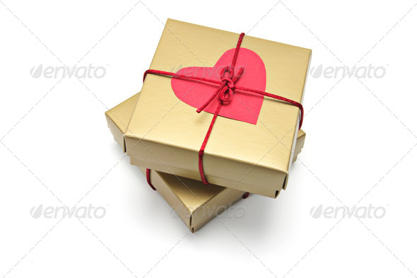Red Heart Symbol on Gift Boxes - Stock Photo - Images