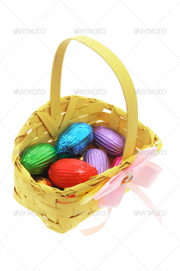 Easter Eggs in Bamboo Basket - Stock Photo - Images