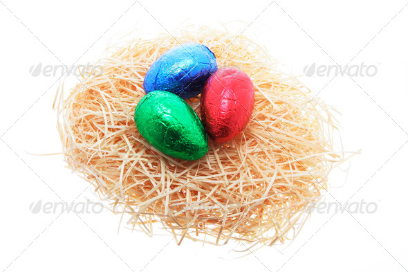 Easter Eggs on Straw Nest - Stock Photo - Images