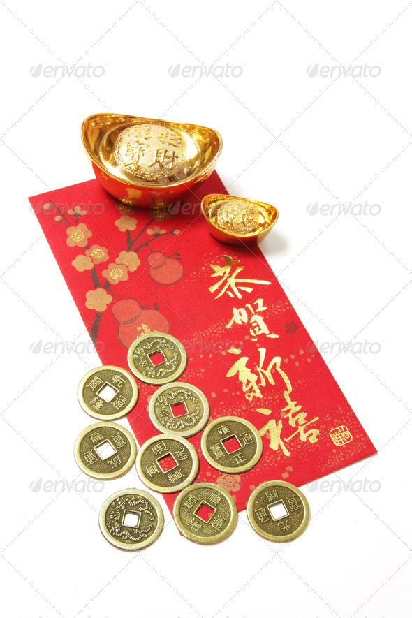 Chinese Coins and Gold Ingots on Red Packet - Stock Photo - Images