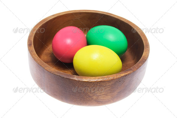 Easter Eggs in Wooden Bowl - Stock Photo - Images