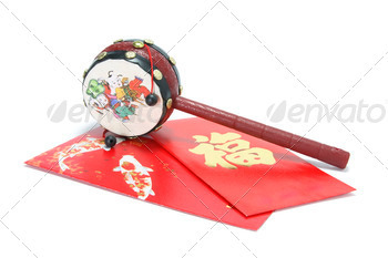 Chinese Tambourine and Red Packets
