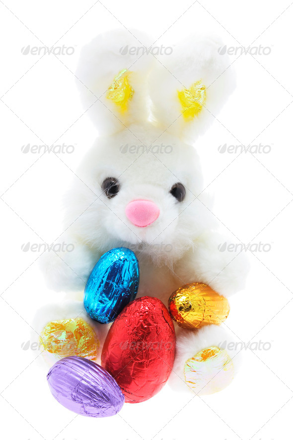 Easter Toy Bunny and Easter Eggs - Stock Photo - Images