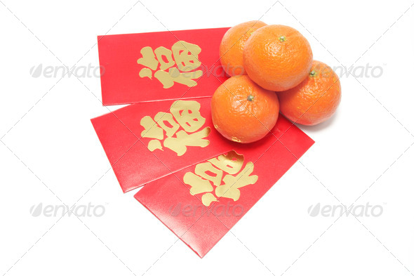 Mandarins and Red Packets - Stock Photo - Images