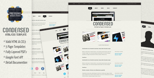 Free Download Condensed - HTML Template Nulled Latest Version