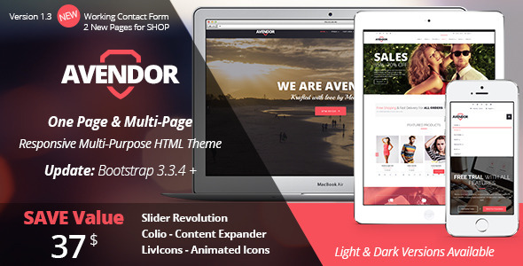 AVENDOR - One Page / Multi Page Multipurpose - Corporate Site Templates