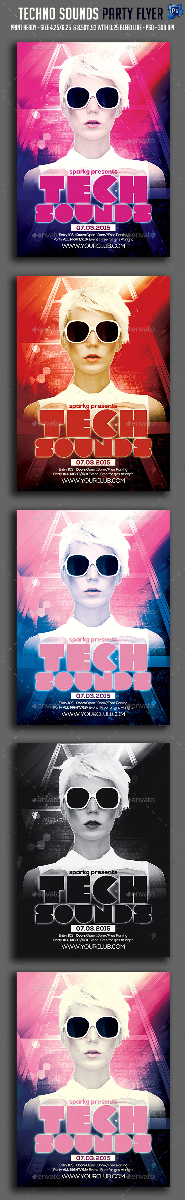 Tech Sounds Party Flyer  - Clubs & Parties Events