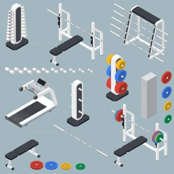 Athletic Accessories For Fitness Center Isometric - Sports/Activity Conceptual